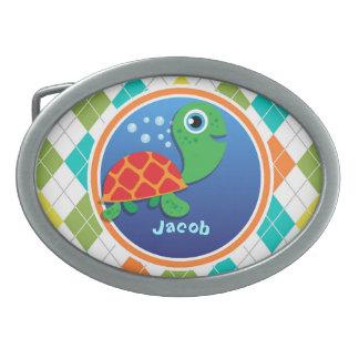 Sea Turtle on Colorful Argyle Pattern Oval Belt Buckles