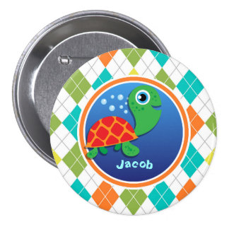Sea Turtle on Colorful Argyle Pattern Buttons