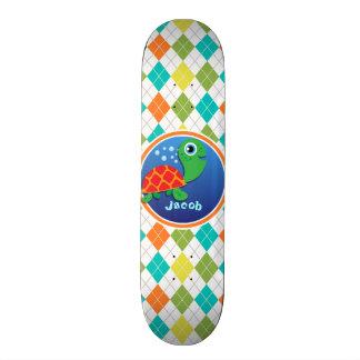 Sea Turtle on Colorful Argyle Pattern Skateboard Decks
