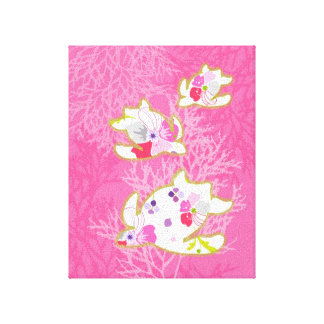 Sea turtle on pink background canvas prints