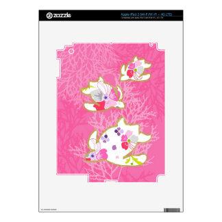 Sea turtle on pink background. iPad 3 skin