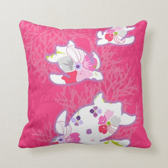 Sea turtle on pink background. throw pillow