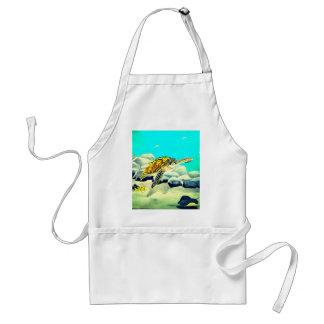 Sea Turtle Painting Beautiful Blue Sea Adult Apron