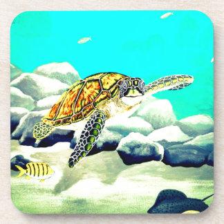 Sea Turtle Painting Beautiful Blue Sea Coaster