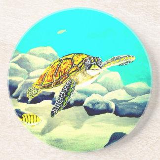 Sea Turtle Painting Beautiful Blue Sea Drink Coaster