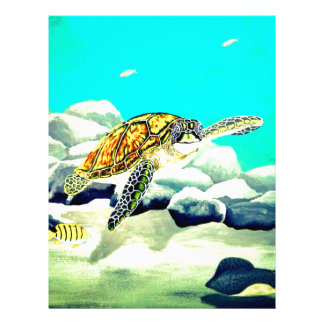 Sea Turtle Painting Beautiful Blue Sea Letterhead