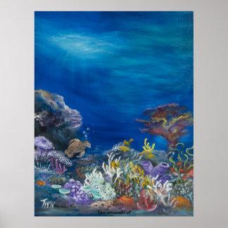 Sea turtle painting on print