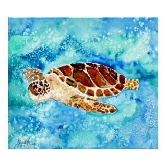 sea turtle painting print on canvas sealife art print