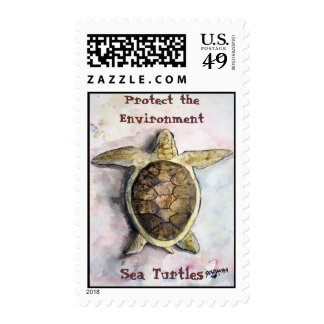 sea_turtle_painting, Protect the Environment, S... Stamp