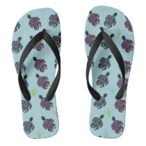 Sea Turtle Pattern Flip Flops