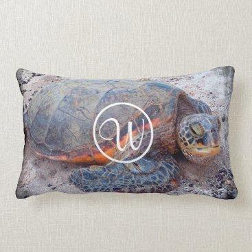Beach Themed Sea turtle photo custom monogram lumbar pillow