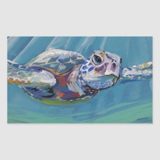 Sea turtle rectangular sticker