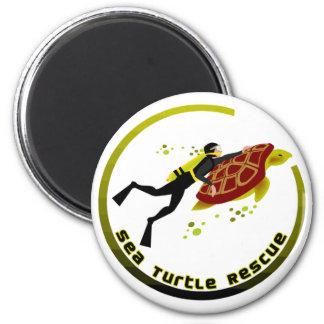 Sea Turtle Rescue 2 Inch Round Magnet