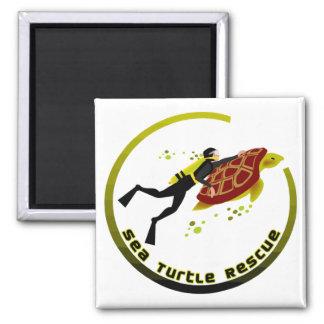 Sea Turtle Rescue 2 Inch Square Magnet