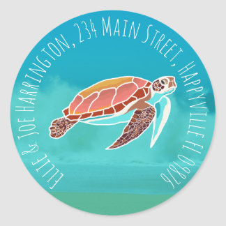 Sea Turtle Round Return Address Envelope Seal