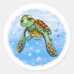 Sea Turtle Round Stickers