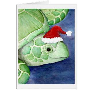 Sea Turtle Santa Card