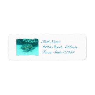 Sea Turtle Scuba Diving Return Address Label