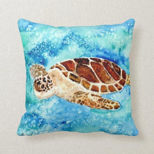 sea turtle sealife marine baby turtles pillow art
