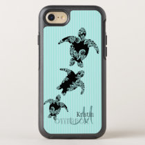 Sea Turtle Silhouette and Aqua Monogram OtterBox Symmetry iPhone 7 Case