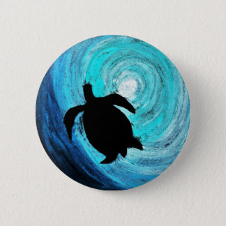 Sea Turtle Silhouette (K.Turnbull Art) Button