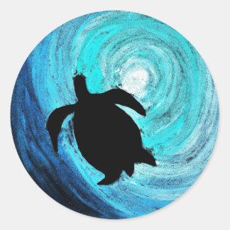 Sea Turtle Silhouette (K.Turnbull Art) Classic Round Sticker