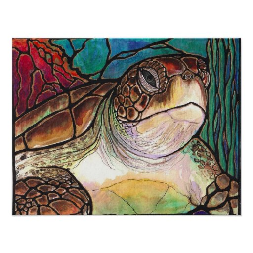 Sea Turtle Stained Glass Style Fine Art Prints Posters