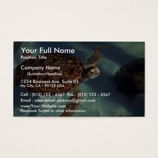 Sea turtle surfaces business card
