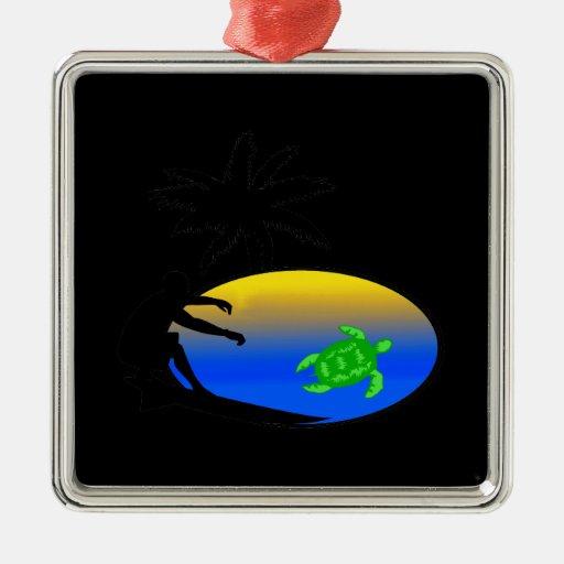 Sea Turtle Surfer Christmas Ornaments