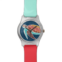 Sea Turtle Swimming Illustrated Wrist Watch