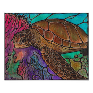 sea turtle swimming poster