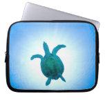 Sea turtle swimming underwater computer sleeve