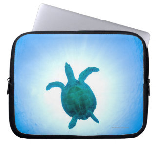 Sea turtle swimming underwater computer sleeve