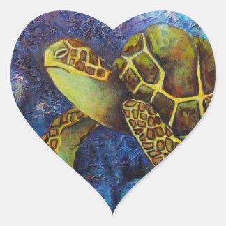 Sea Turtle, Texture Art Products Heart Sticker