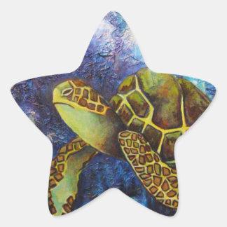 Sea Turtle, Texture Art Products Star Sticker