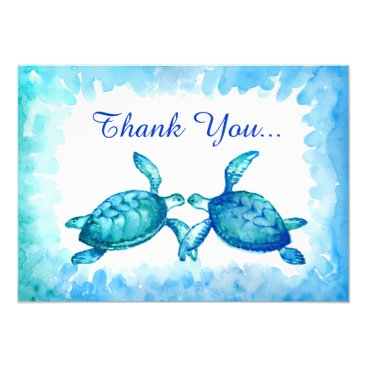raphaela_wilson Sea Turtle Thank You Cards - Blue Teal Watercolor
