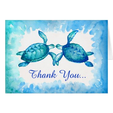 raphaela_wilson Sea Turtle Thank You Note Cards | Blue Green Teal