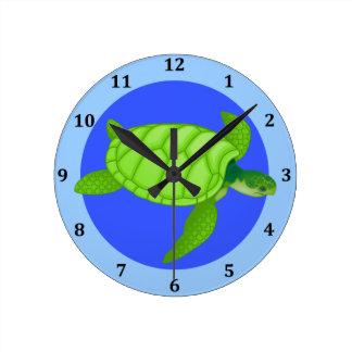 Sea Turtle Tropical Beach Ocean Blue Round Clock