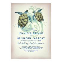 Sea Turtle Tropical Beach Wedding Invitation