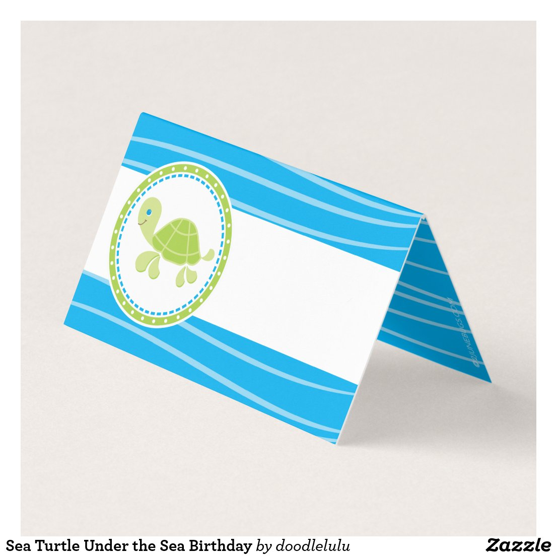 Sea Turtle Under the Sea Birthday Place Card