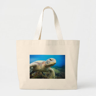 Sea turtle underwater Galapagos Islands Tote Bags