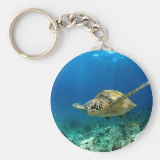 Sea turtle underwater keychain