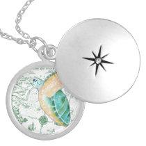Sea Turtle Vintage Map white Locket Necklace