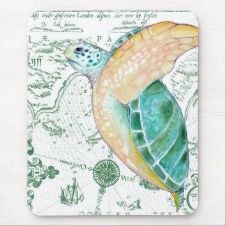 Sea Turtle Vintage Map white Mouse Pad