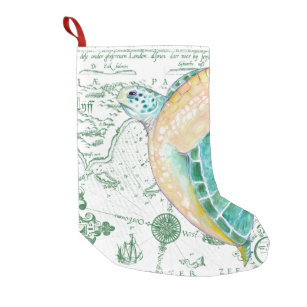 56d5164db3d Sea Turtle Vintage Map white Small Christmas Stocking
