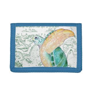 Sea Turtle Vintage Map white Trifold Wallet