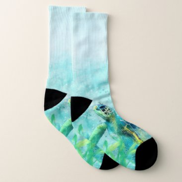 Beach Themed Sea Turtle Watercolor Beach Tortoise Ocean Water Socks