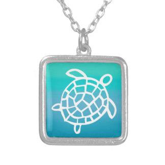Sea Turtle Watercolor Ocean Silver Plated Necklace