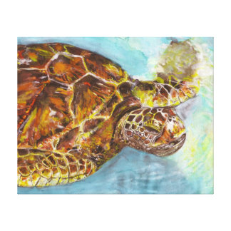 Sea Turtle Watercolor Painting on Canvas Gallery Wrap Canvas