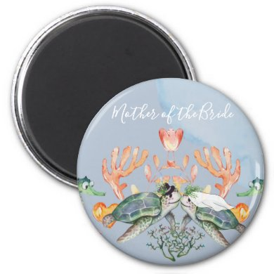 Sea Turtle Wedding Featuring Bride and Groom Magnet